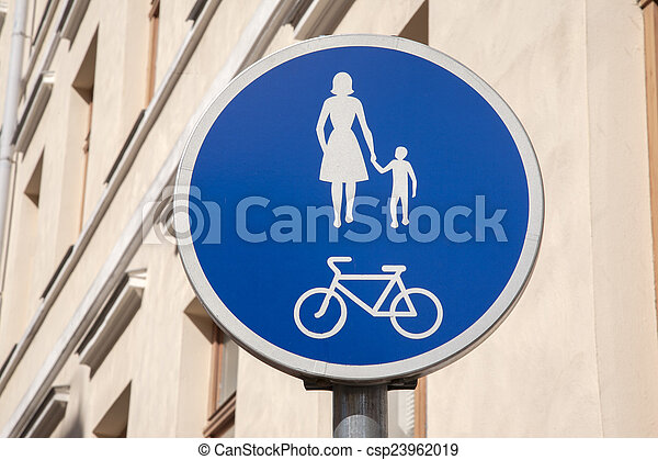 Pedestrian and Bicycle Sign - csp23962019