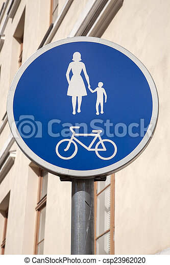 Pedestrian and Bicycle Sign - csp23962020