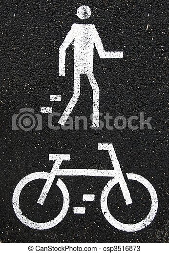 Pedestrian and bicycle sign - csp3516873