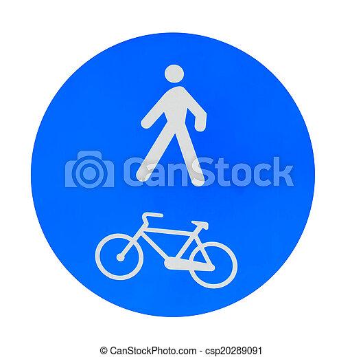 pedestrian and bike lane sign on white - csp20289091