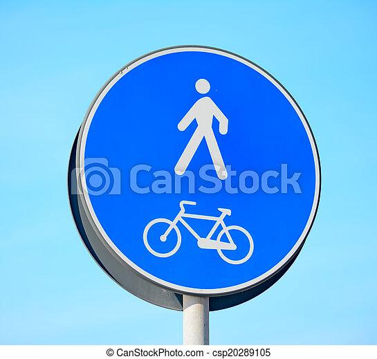 pedestrian and bike lane sign - csp20289105