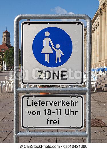 Pedestrian area sign - csp10421888