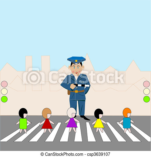 Pedestrian Crossing Children On Pedestrian Crossing Police And