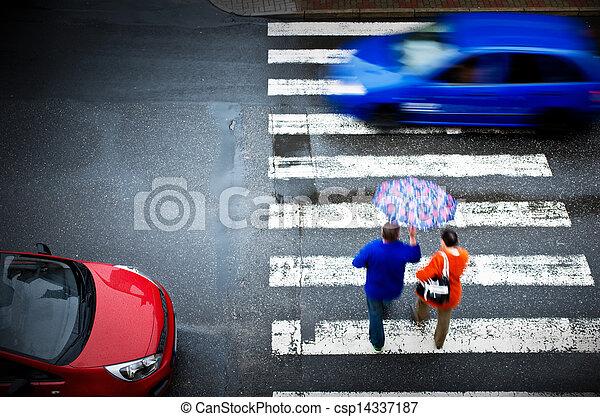 pedestrian crossing with car - csp14337187