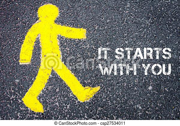 Pedestrian figure walking towards IT STARTS WITH YOU - csp27534011
