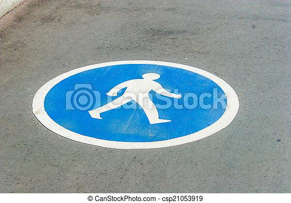 Pedestrian lane sign on asphalt - csp21053919