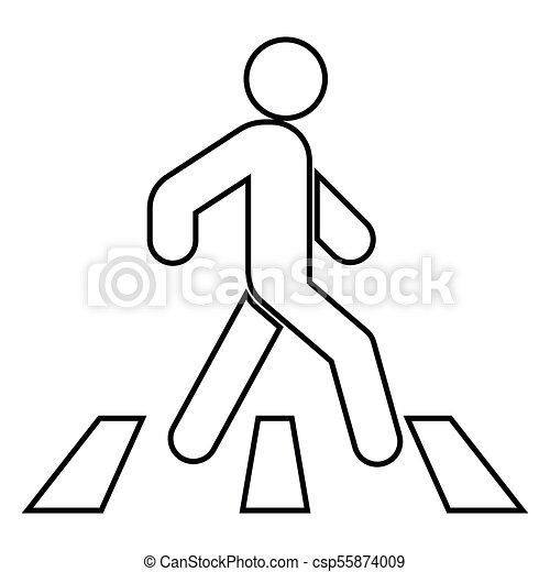 Pedestrian on zebra crossing icon black color illustration flat style simple image - csp55874009
