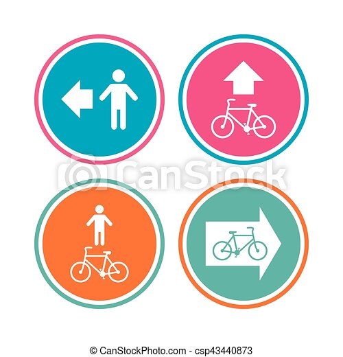 Pedestrian road icon. Bicycle path trail sign. - csp43440873