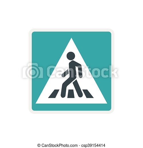 Pedestrian road sign icon, flat style - csp39154414