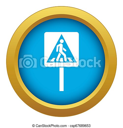 Pedestrian sign icon blue isolated - csp67689653