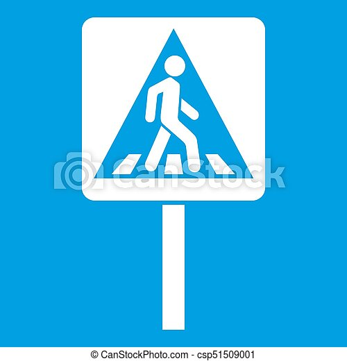 Pedestrian sign icon white - csp51509001