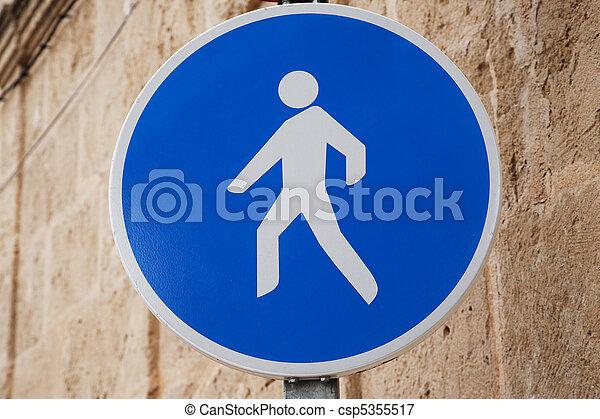 Pedestrian Sign in Urban Setting - csp5355517
