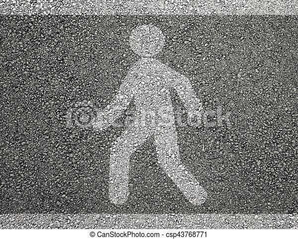 Pedestrian sign on asphalt - csp43768771