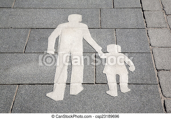 Pedestrian Sign on Street in Helsinki - csp23189696