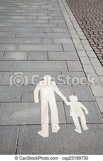 Pedestrian Sign on Street in Helsinki - csp23189730