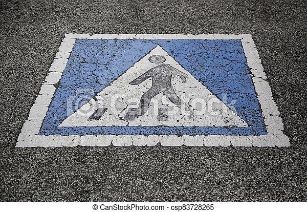 Pedestrian sign on the asphalt - csp83728265