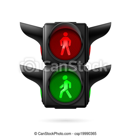 Realistic pedestrian traffic lights with red and green ...