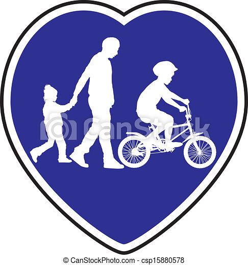 Pedestrian Trail And Cycle Path Vector Llustration Symbol For Cycle