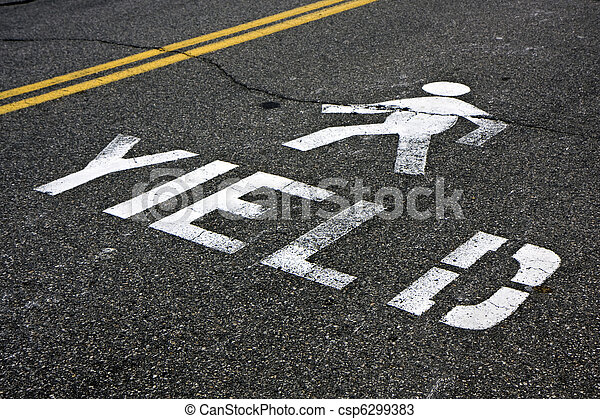 Pedestrian yield sign on a road - csp6299383