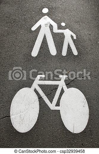 Pedestrians and bike - csp32939458