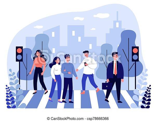 Pedestrians crossing city street - csp78666366