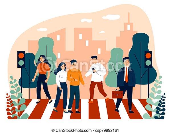 Pedestrians crossing city street - csp79992161