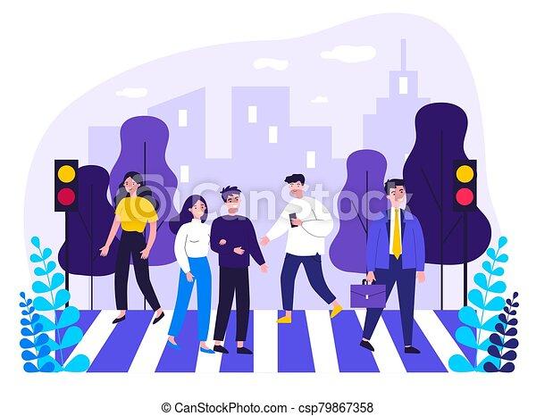 Pedestrians crossing city street - csp79867358