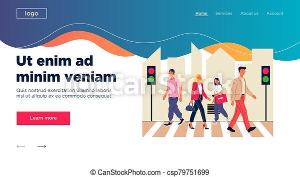 Pedestrians crossing city street - csp79751699