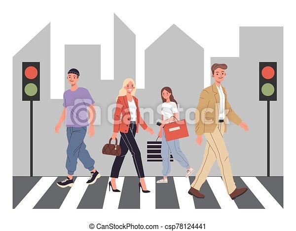 Pedestrians crossing city street - csp78124441