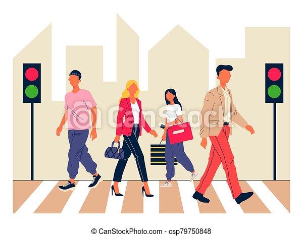 Pedestrians crossing city street - csp79750848