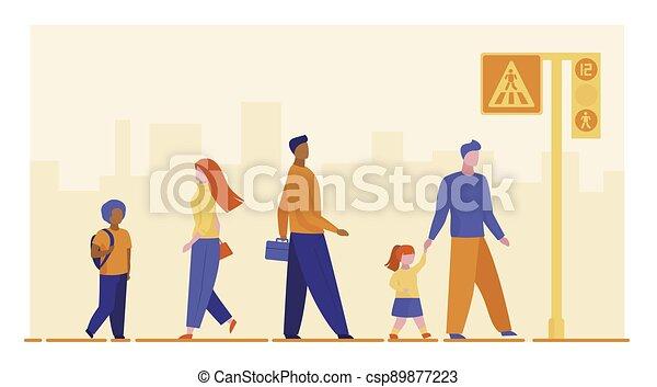 Pedestrians crossing street - csp89877223