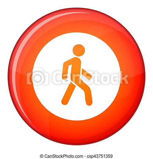 Pedestrians only road sign icon, flat style - csp43751359