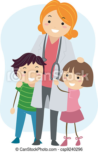 illustration of children clinging on to a pediatrician rh canstockphoto com pediatrician doctor clipart woman pediatrician clipart