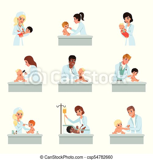 Pediatrician doctors doing medical examination of little kids set, male and female doctors checkup for babies vector Illustrations - csp54782660