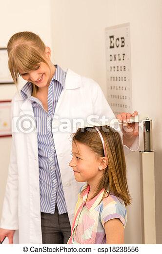Pediatrician measure height of little girl - csp18238556