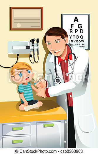 Pediatrician with child - csp8363963