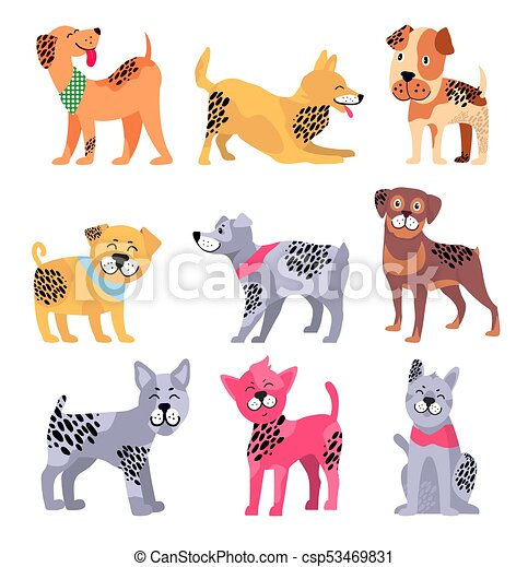 Pedigree Dogs Isolated Cartoon Illustrations Set Pedigree Dogs With