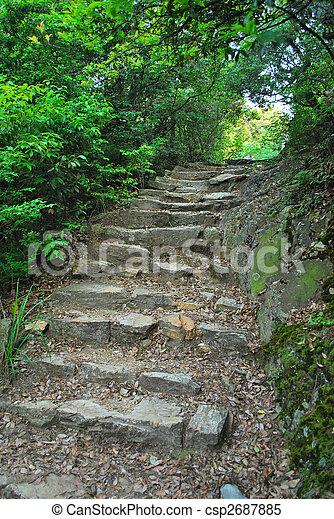 pedra, estiramento, luz, longo, passos, guiando - csp2687885