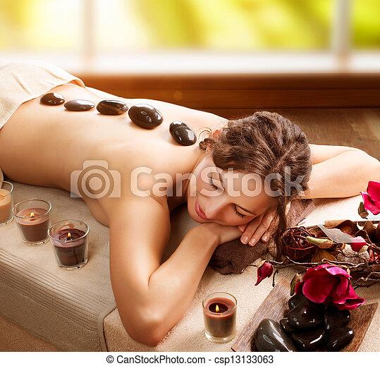 pedra, spa., salão, massage., dia spa - csp13133063