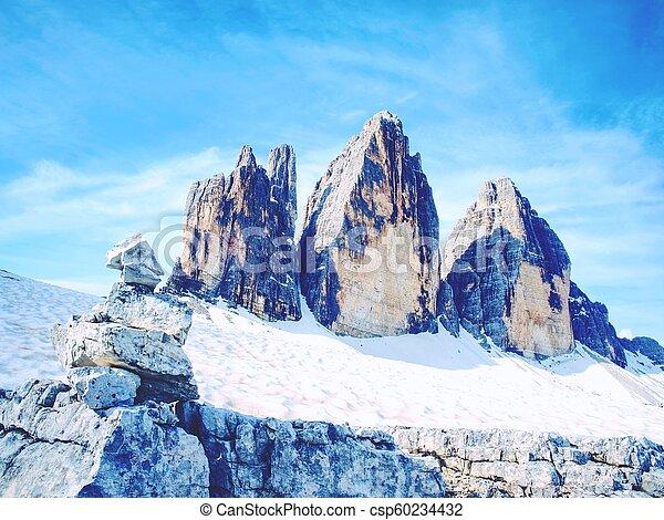 pedras, berro, ao redor, cime, primavera, tre, rastro, summit., pilha, alpino - csp60234432