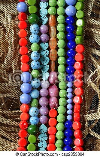pedras, jóia, cor, colares, palha, fundo - csp2353804
