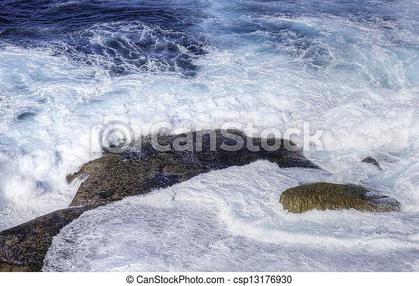 pedras, ondas, oceânicos, bata - csp13176930
