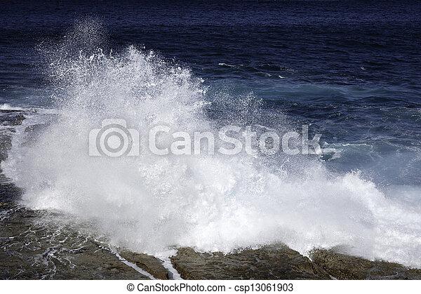 pedras, ondas, oceânicos, bata - csp13061903