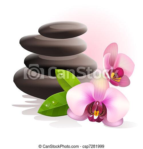 pedras, spa, flores - csp7281999