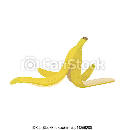 Peel Of Banana Icon In Cartoon Style Isolated On White Background