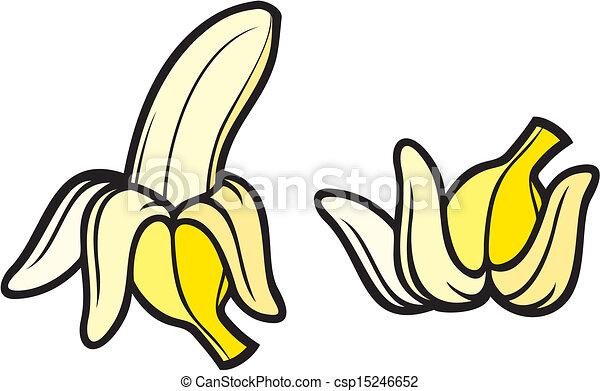peeled banana and banana peel clipart vector search illustration rh canstockphoto com