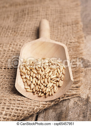 Peeled oats in a wooden shovel - csp65457951