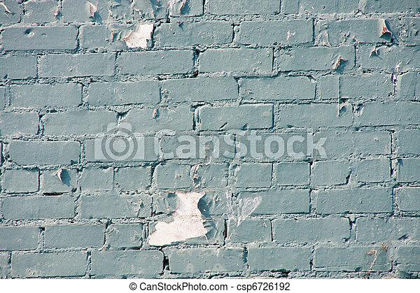 Peeling Blue Paint on Old Brick Wall - csp6726192