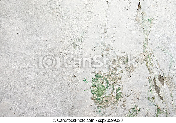 Peeling paint and moss on old concrete wall - csp20599020