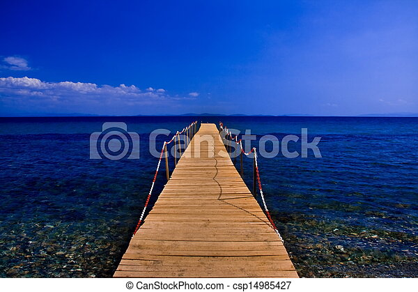 peer on blue sea with blue sky - csp14985427
